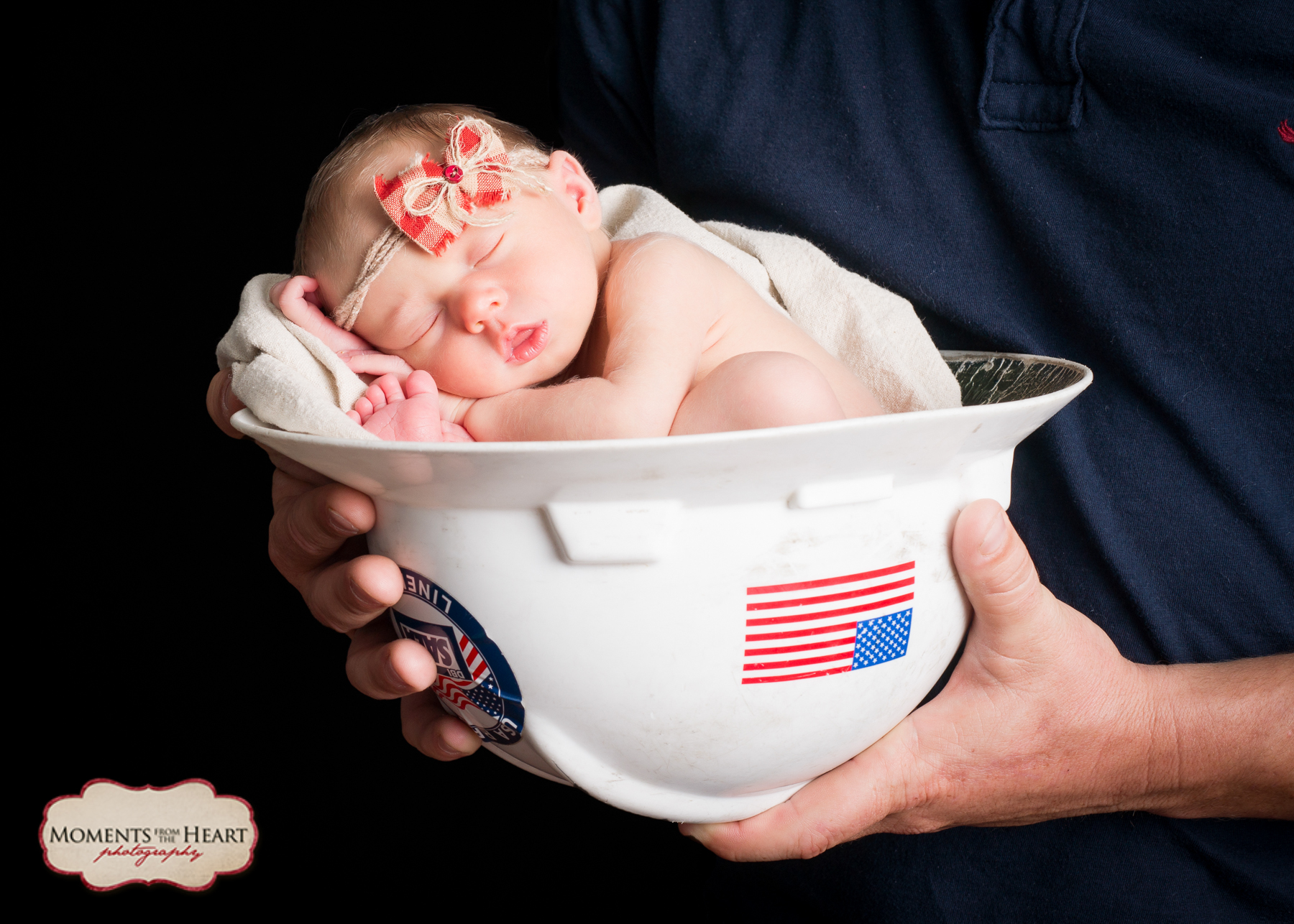 Dad and Newborn Studio Photography session - Dad with beautiful newborn daughter hardhat ~ Austin, TX