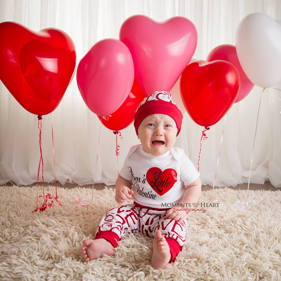 cute valentine baby crying