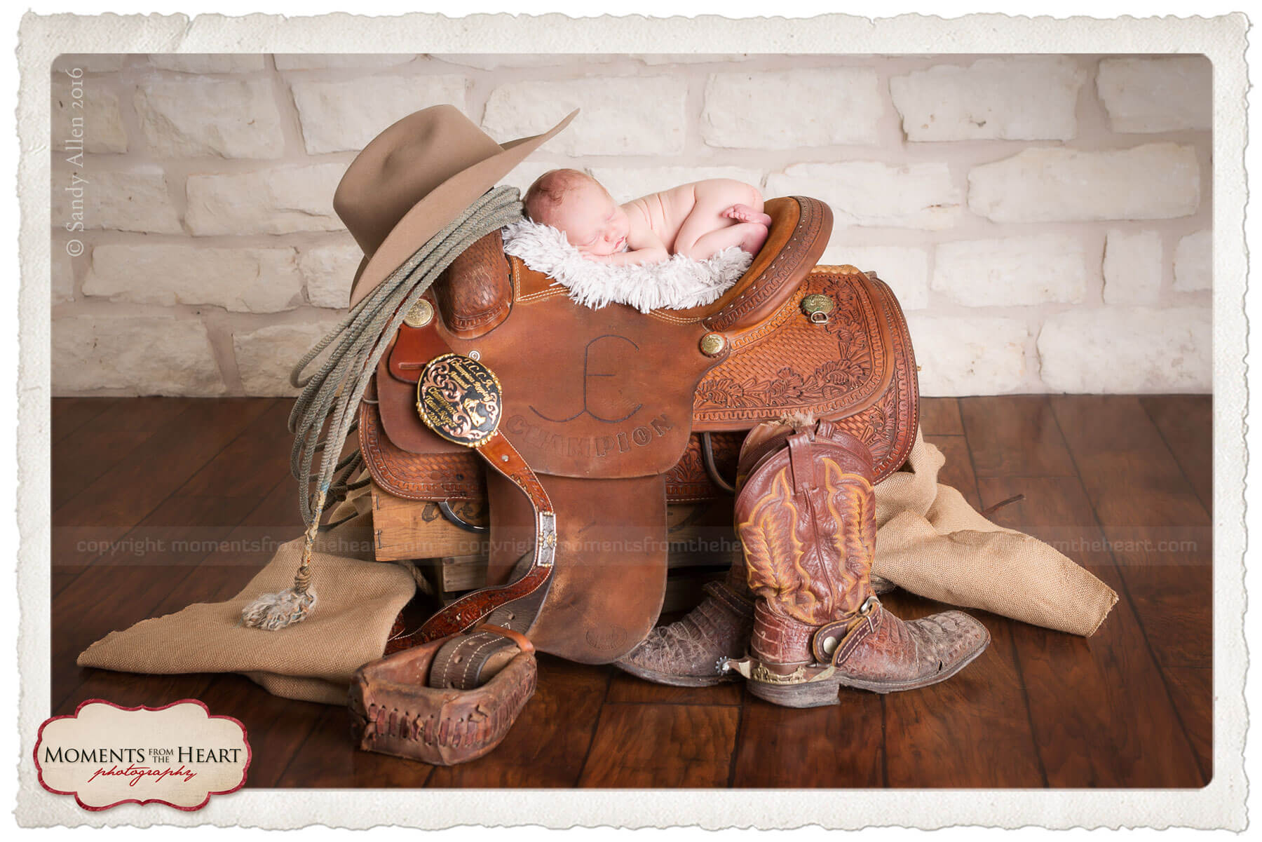newborn cowboy in saddle