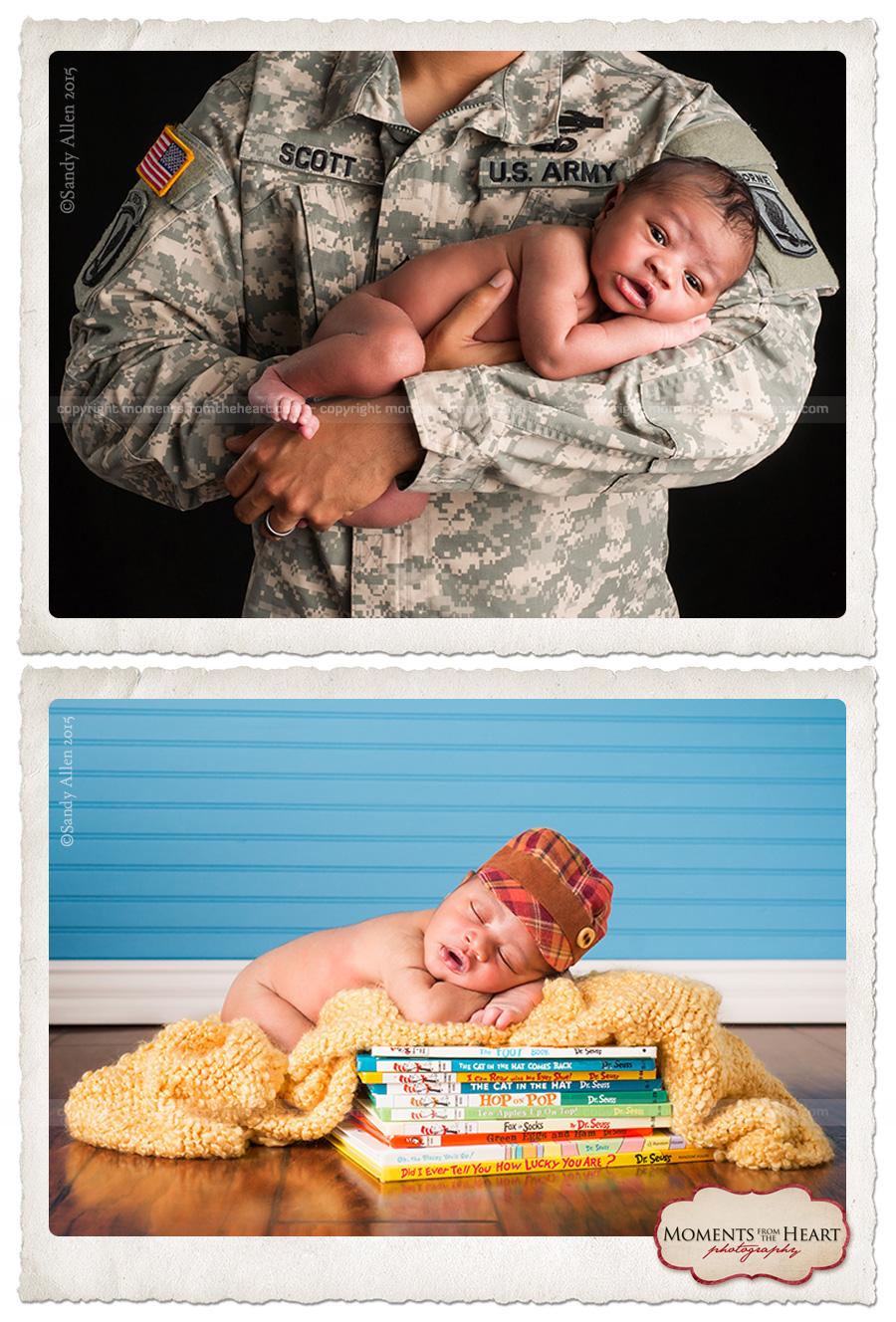proud soldier holding newborn son