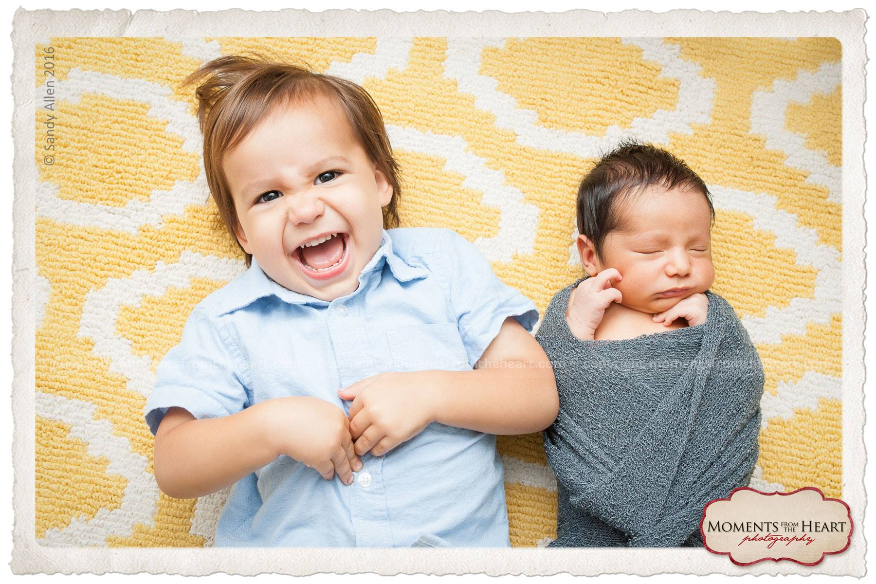 austin newborn and brother photo shoot