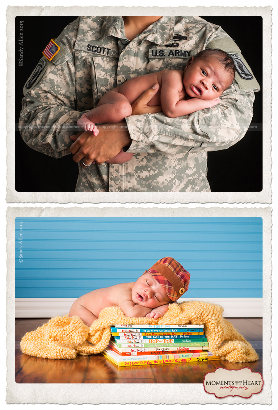 proud soldier holding newborn son
